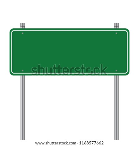Side road blank green sign. 3d illustration isolated on white background #1168577662