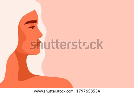 Side view face of a young strong Caucasian woman with blond hair. Concept of fighting for equality and women empowerment movement. Vector horizontal banner.