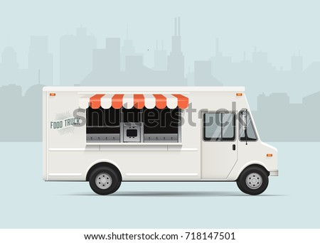 Side View Food Truck with City Landscape on the Background. High Detailed Vector Illustration. Food Truck Mockup.
