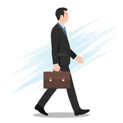 Side View of a Businessman Walking Forward