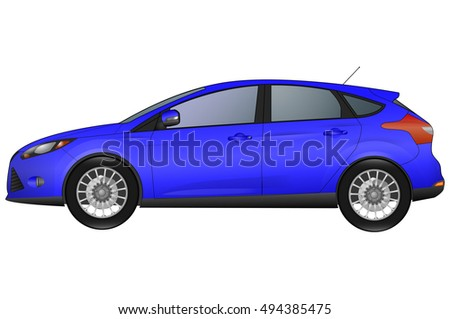 side view of blue car isolated