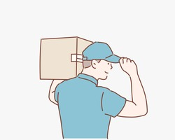 Side view of delivery man with box. Hand drawn style vector design illustrations.
