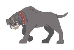 Side View of Furious Aggressive Pedigree Dog Baring its Teeth Vector Illustration