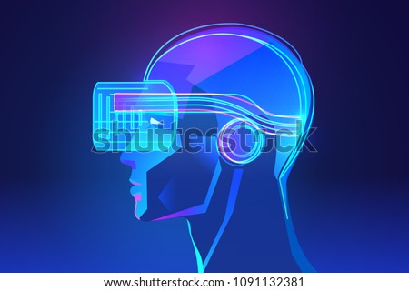 Side view of human head with virtual reality headset. Abstract vr world with neon lines. Vector illustration