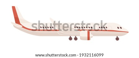 Side view of passenger airplane or aircraft with undercarriage. Profile of air plane isolated on white background. Flat cartoon vector illustration of aeroplane with portholes, wings and engines