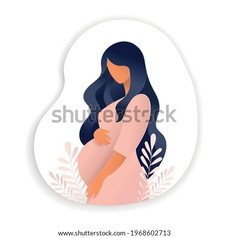 Side view of pregnant woman, pregnancy concept in trendy paper cut craft graphic style. Modern abstract design of motherhood poster, banner. Vector illustration isolated on white background.