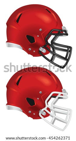 side view of red football