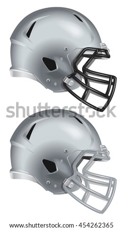 Side view of silver football helmet vector isolated on white