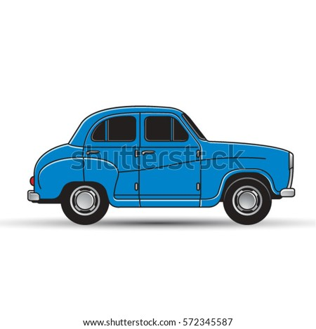 side view of vintage old car in blue-vector drawing