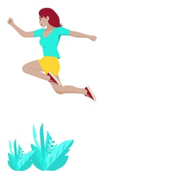 Side view of young beautiful girl wearing light blue shirt,short yellow sleeve and red sneakers is jumping on leaves. A woman jumps with happiness in copy space. Vector isolate flat design for Freedom