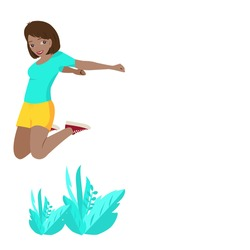 Side view of young black  girl wearing light blue shirt,short yellow sleeve and red sneakers is jumping on leaves. A woman jumps with happiness in copy space. Vector isolate flat design for Freedom