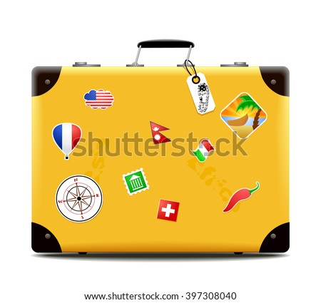 Side view on single old fashioned yellow suitcase with stickers from around the world on isolated white background with set down shadow