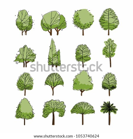 Side view, set of green graphics trees elements outline symbol for architecture and landscape design drawing. Natural icon. Vector illustration