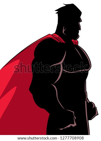 Side view silhouette illustration of a powerful and determined superhero with red cape looking forward ready for action on white background for copy space.