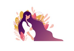 Side view silhouette of a pregnant woman with a belly. Pregnancy flat character with long hair on a background of leaves. Flat stock vector illustration isolated on white background.