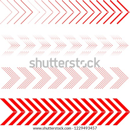 sideways. dotted sign. Arrow element for your design.Striped direction. vector illustration #1229493457