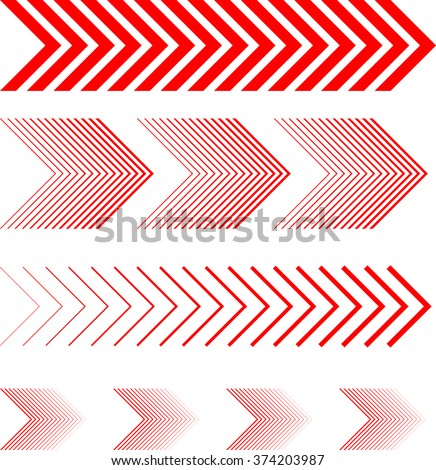 sideways Set . Linear signs collection. Arrow Design .four elements for your design.Striped direction. vector illustration #374203987