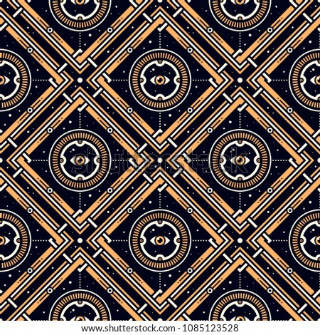 Sight of the Unknown. Seamless pattern with stars, magic eyes, and golden lattice in esoteric style. Alchemy, space, spirituality, mysticism.