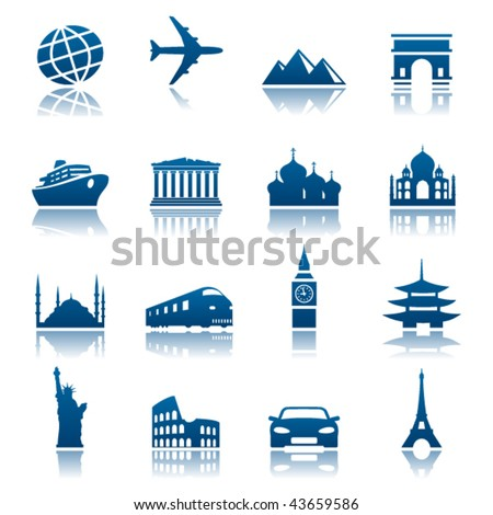 Sights and transportation icon set