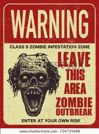 sign board with zombie  words
