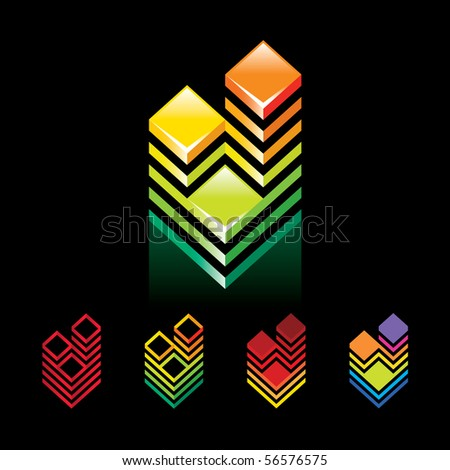 Sign Building Towers on a black background. 