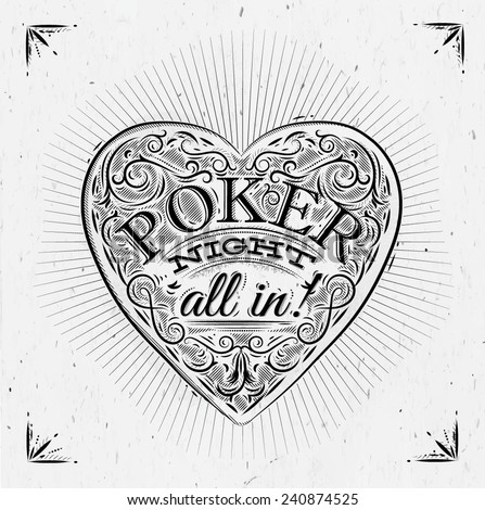 Sign chirwa in vintage style lettering poker night all in