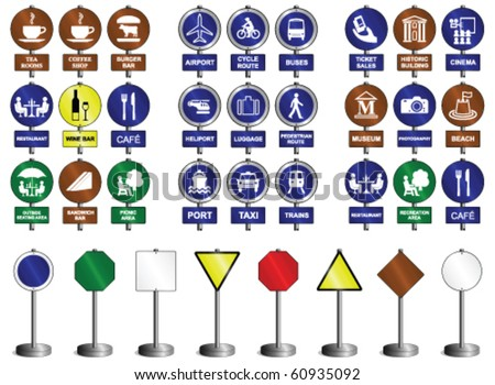 Sign collection in transport entertainment food & drink categories