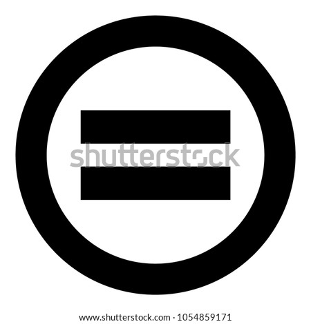 Sign equally black icon in circle .