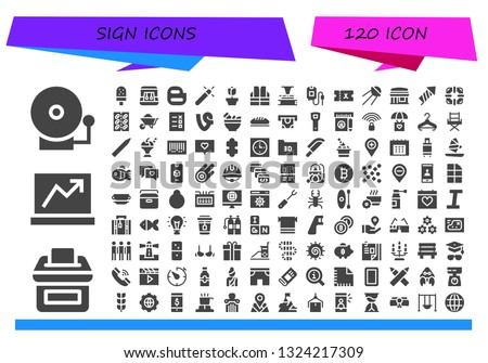 sign icon set. 120 filled sign icons.  Collection Of - Alarm bell, Vote, Laptop, Ice cream, Earrings, Blogger, Magic, Rose, Vest, Phonograph, Blood bag, Ticket, Sputnik, Restaurant