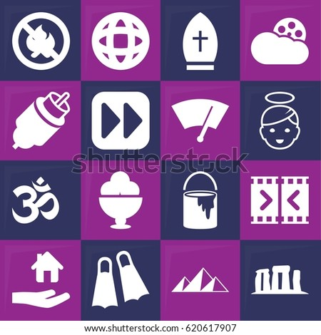 sign icon set of 16 sign