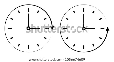 Sign icon the passage of time counterclockwise, Vector clock, minute and hour hands. concept of clockwise, counter clockwise
