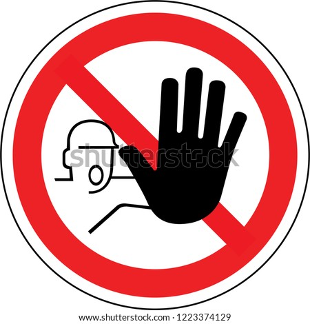 Sign in France: hand, Do not enter sign. Warning red circle icon isolated on white background. Prohibition concept.  Foto d'archivio ©