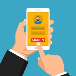 Sign in page on smartphone screen. Hand hold phone, finger touch sign in button. Male avatar. Vector flat illustration.
