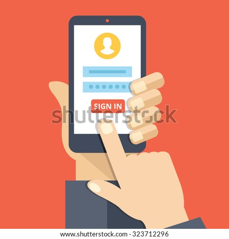Sign in page on smartphone screen. Hand hold smartphone, finger touch sign in button. Mobile account. Modern concept for web banners, web sites, infographics. Creative flat design vector illustration