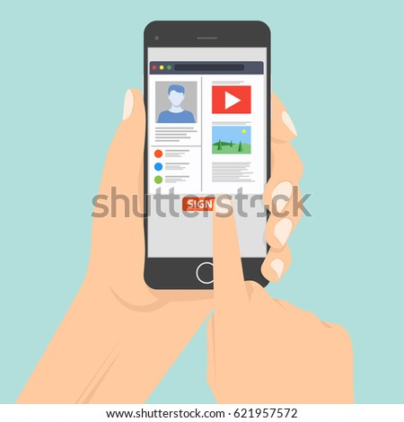 Sign in page on smartphone screen. Hand hold smartphone, finger touch sign in button. Smartphone hand type working using computer flat vector illustration. Hands hold smartphone on social network page