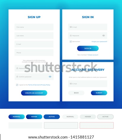 Sign in, sign up, account recovery. Login forms with web elements in different style. Material design template. UI/UX.
