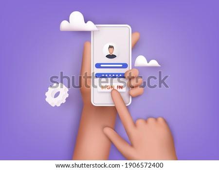 Sign in to online account on smartphone app. User interface. Secure login and password.  3D Vector Illustrations.