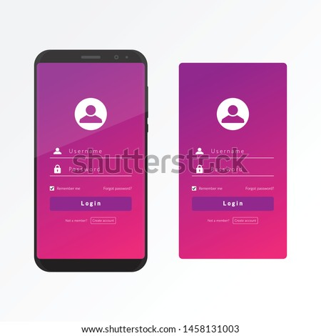 Sign in user interface and user experience with a smart phone for web log in vector design template