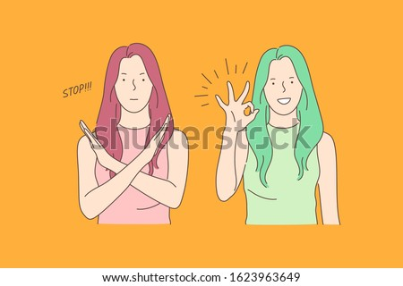 Sign language, stop and ok, opposite emotions concept. Call to stop, prohibition and consent gesture, communication, dialogue, gesticulating young woman, denying and agreeing girl. Simple flat vector Stockfoto ©