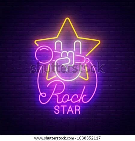 sign neon rock music rock