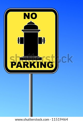 sign - no parking near fire hydrant against a blue sky - vector