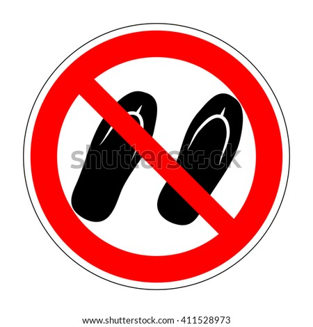 48388e4100dd24 Sign no sandals. No slipper red prohibition plane icon on white background.  Not allowed