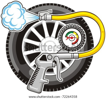 sign of air for car wheels - stock vector