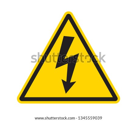 sign of danger high voltage symbol isolated on white, triangel yellow black