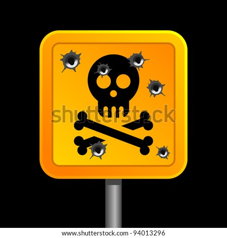 sign of human skull with bones with bullet holes - stock vector