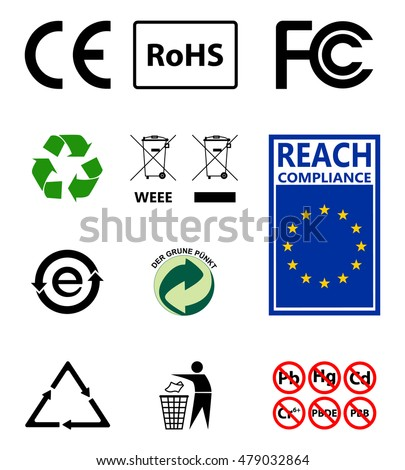 Sign of recycling. Environmental protection. RoHs . Reach. Set of the most common and important signs for manufacturers of goods. Set of vector icons approved form.