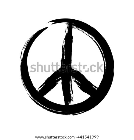 Sign pacifist, peace symbol, drawn by hand with a brush. Black Hippie sign on a white background. Isolated.