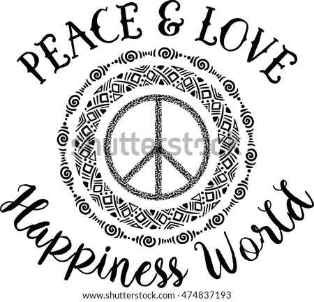 Love And Peace Hand Drawn Doodle And Lettering Download Free