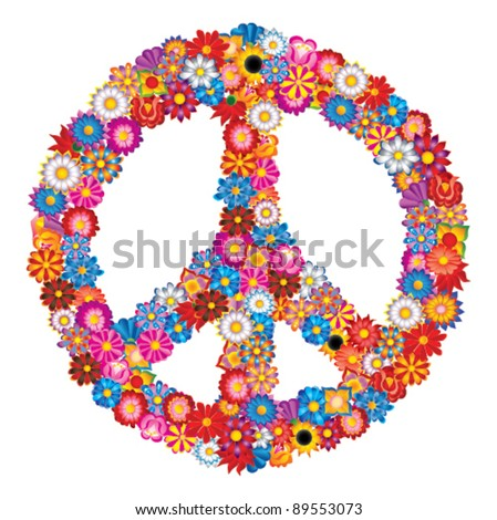 sign peace from flowers