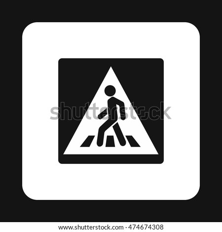 Sign pedestrian crossing icon in simple style isolated on white background. Rules of the road symbol